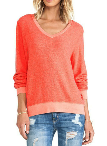 Wildfox Womens Baggy Beach WVV791000 Sweater Relaxed Hot Lipstic Red Size S