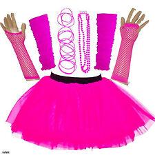 NEW GIRLS HEN PARTY 80'S FANCY DRESS ACCESSORIES NEON TUTU SKIRT SET BANGLE PINK