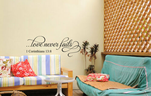 """LOVE NEVER FAILS Scripture Decor Vinyl Wall Decal Lettering Words Religious 48/"""""""