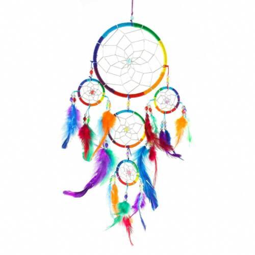 Dreamcatcher Traumfänger KUNTERBUNT mit Perlen ca 7,49€//1S 18 x 40 cm Indianer