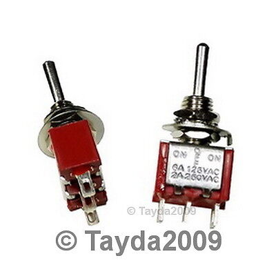 4 x Mini Toggle Switch SPDT On-Off-On - High Quality