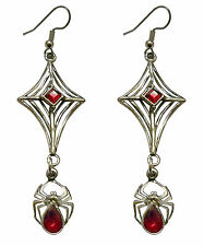Gothic Spider Web with Hanging Spider and Red Stones Danlge Earrings #962