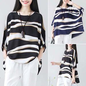 ZANZEA-Women-Long-Batwing-Sleeve-Casual-Stripe-Wave-Loose-Blouse-Shirt-Tops-Plus