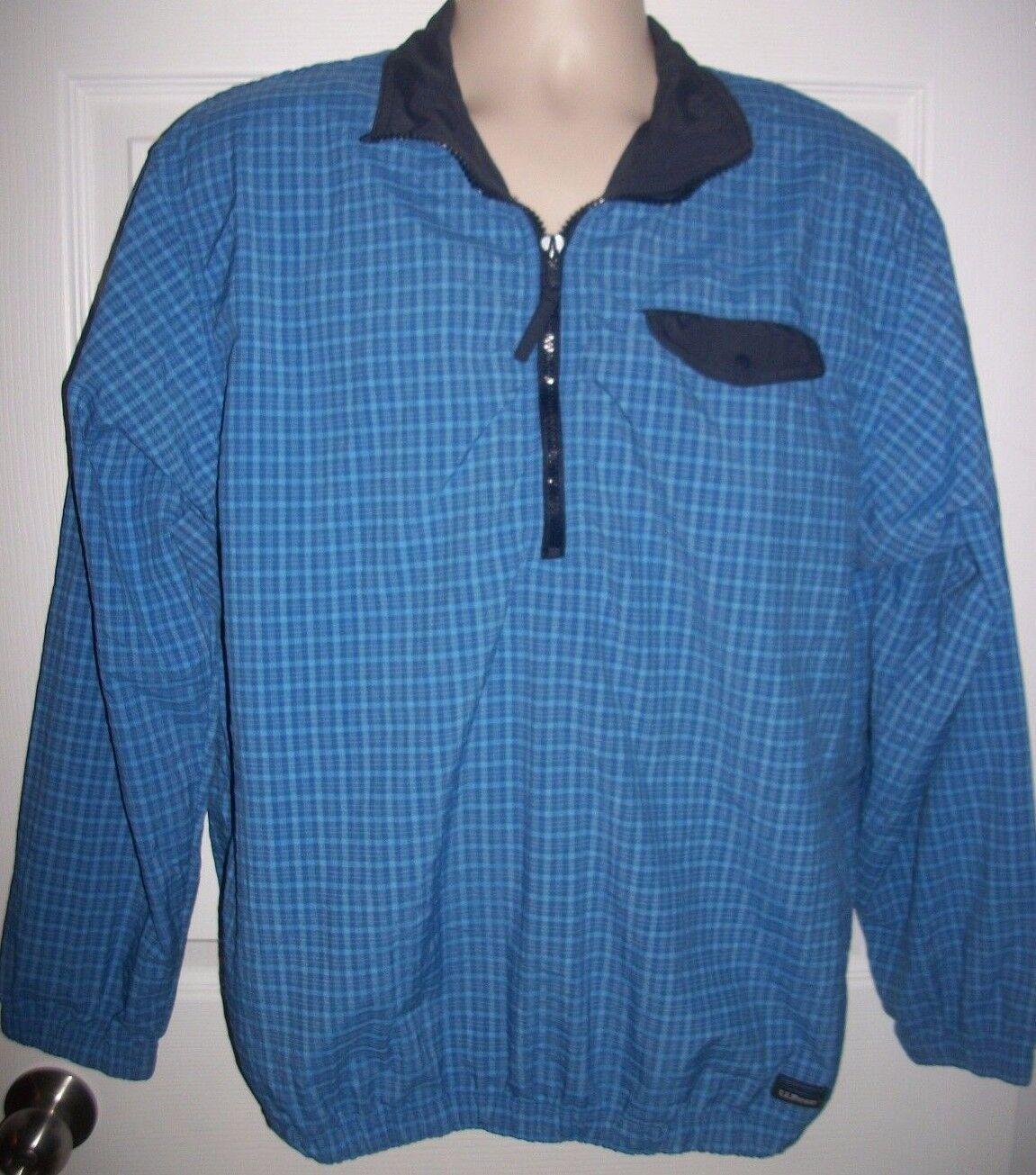 L. L. Bean Men's bluee Plaid Nylon Blend Sport Shirt Size XL