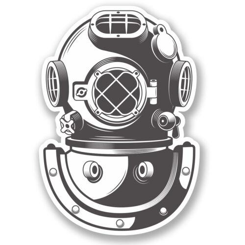 2 x Diving Bell Vinyl Sticker Car iPad Laptop Scuba Diver Dive Helmet #5348//SV