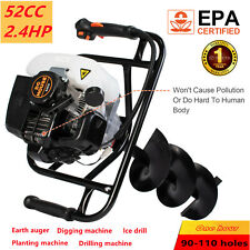 52cc 24hp Gas Powered Post Hole Digger With 6 Amp 10 Earth Auger Digging Engine