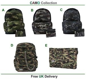 CAMO-Backpack-Rucksack-Camouflage-Cool-Army-Camping-School-Gym-Goth-Travel-Bag