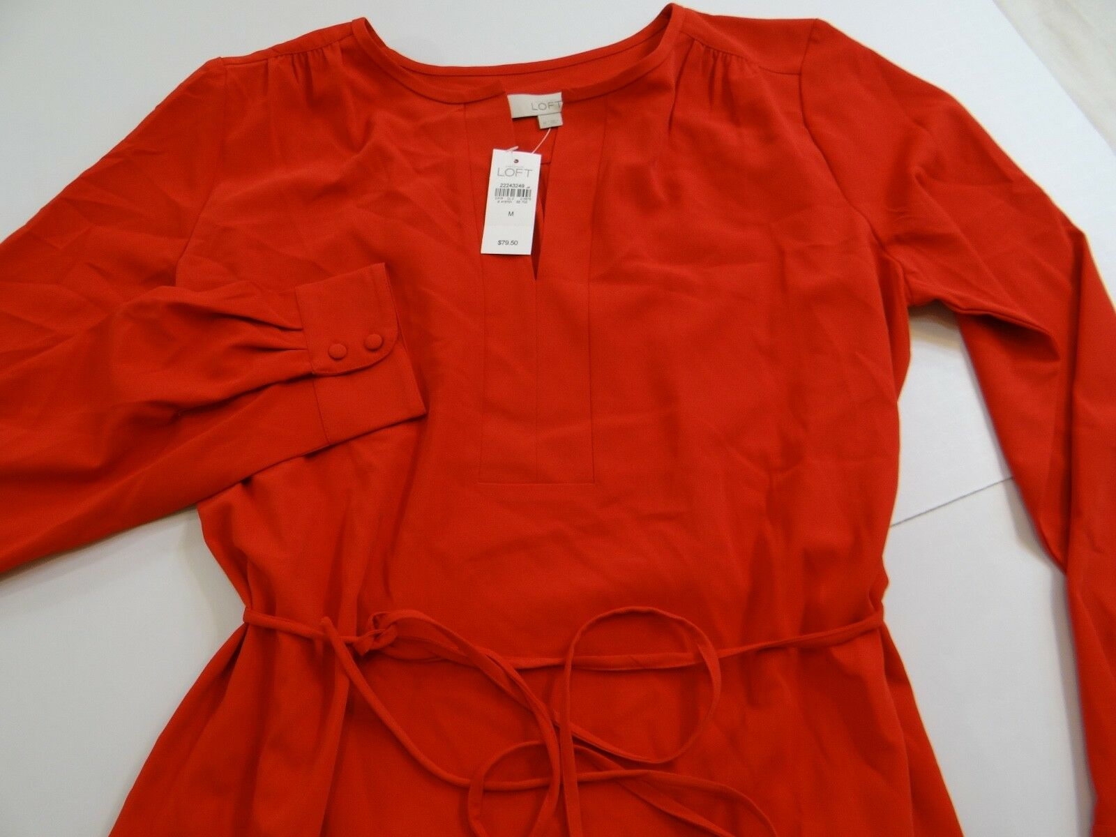 Ann Taylor LOFT Woherren Orange(scarlet) Split Neck Shirt Dress Medium M NWT NEW