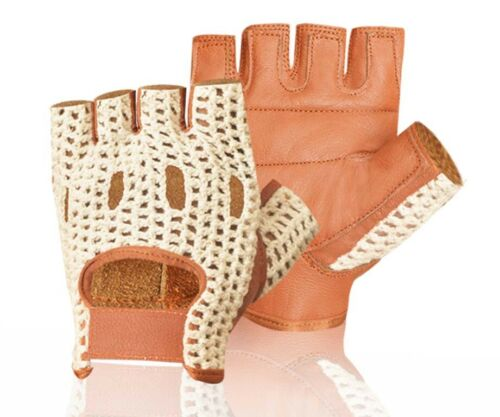 Leather Crochet Padded Weight Training Cycling Driving Wheelchair Gloves