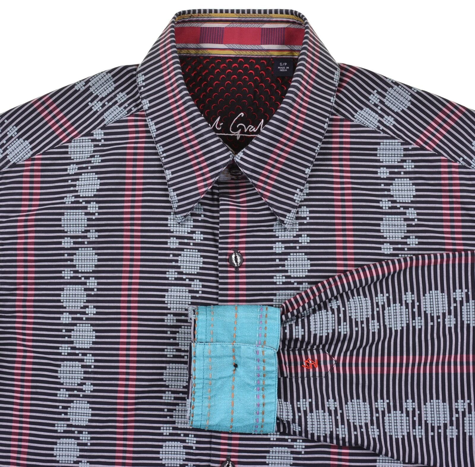 Robert Graham Multi color Geometric Horizontal Stripe Embroidered Casual Shirt S