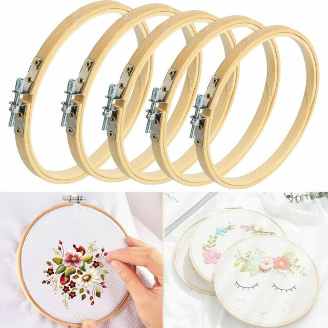 Embroidery Hoops Frame Set Bamboo Wooden Hoop Rings Home DIY Cross Stitch Tools