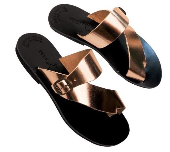 Ancient Greek Sandals pour femme romaine en cuir fait à la main Chaussures Plates Diapositive Spartan