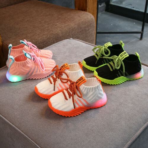 Toddler Infant Kid Baby Girl Boy Mesh LED Light Luminous Sports Shoes Sneakers