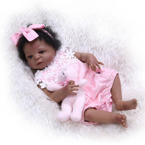Reborn Baby Doll Black 22Girl Full Body Vinyl Silicone Toddler African American