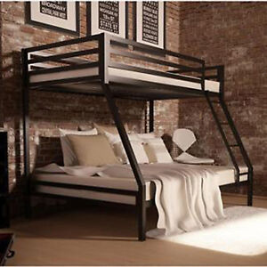 Metal Bunk Beds Frame Twin Over Full Black Ladder Kids Bedroom