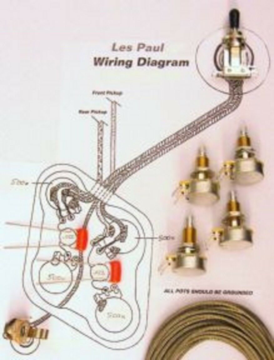 Upgrade Wiring Kit for Gibson Les Paul - Switchcraft, CTS Long Shaft, O drop