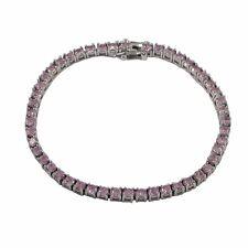 Pink CZ Sterling Silver One Row Tennis Bracelet 3mm