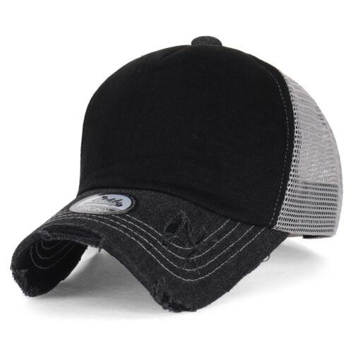 ililily Vintage Distressed Mesh Snapback Blank Trucker Hat Baseball Cap 9 colors