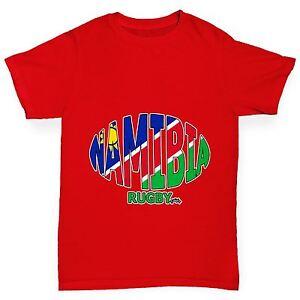 Twisted-Envy-de-Garcon-Namibie-ballon-de-RUGBY-Drapeau-Drole-T-shirt-en-coton