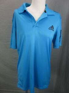 Adidas-Size-M-Mens-Blue-Athletic-Climacool-Short-Sleeve-Golf-Polo-Shirt-T959