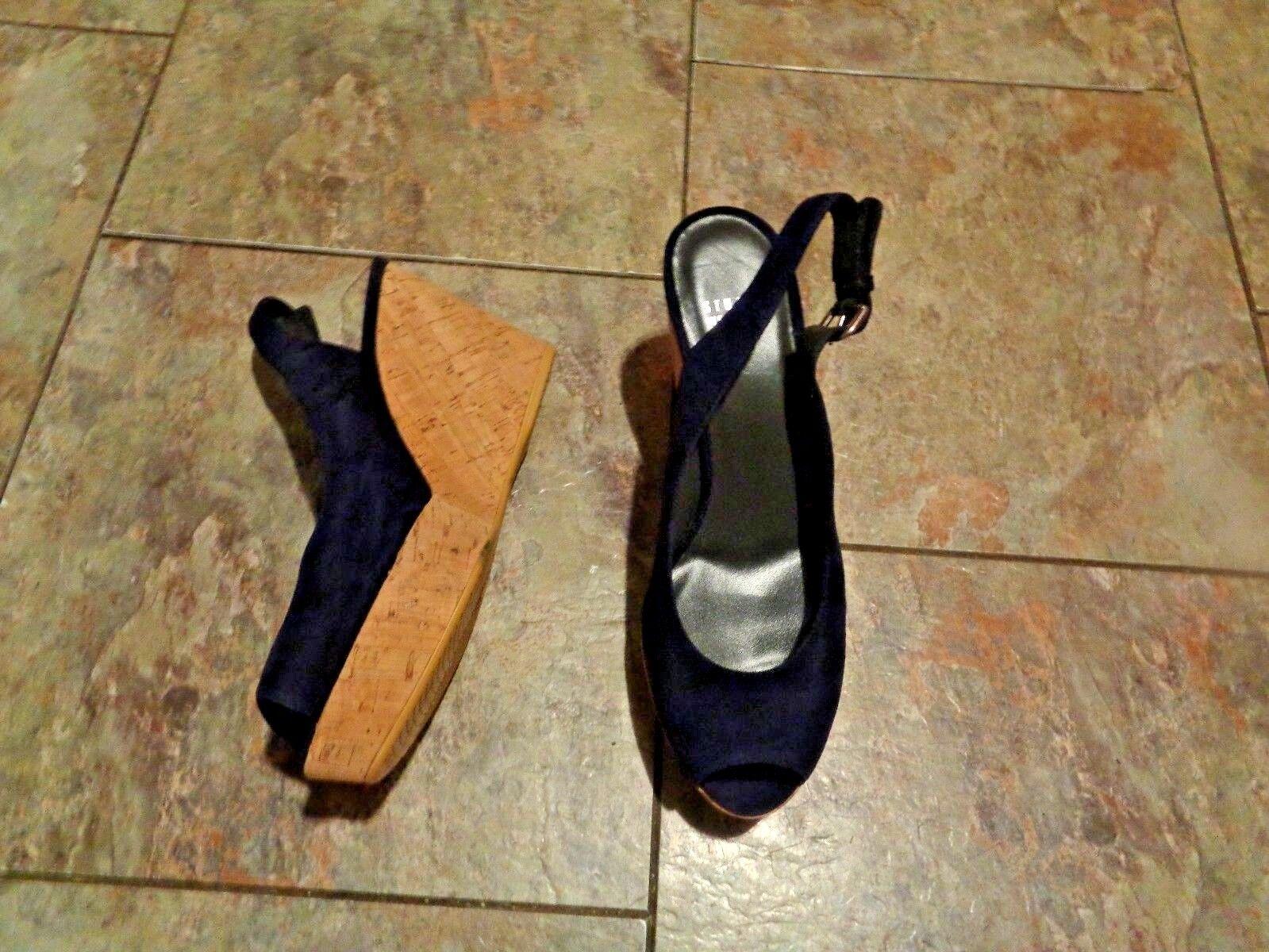 Stuart Weitzman azul Suede Puntera Abierta Cuña Cuña Cuña Tacón Zapatos Talla 8  precios al por mayor