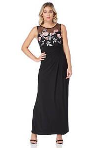 Roman-Originals-Women-039-s-Black-Rose-Embroidered-Maxi-Dress-Sizes-10-20