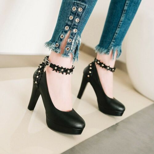 New Mary Janes Women/'s High Heel Platform Pumps Round Toe Ankle Strap Shoes Size
