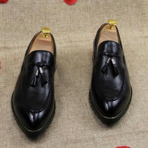 Nouveau Homme élégante Pompons Cuir Mocassins Formel Business Robe Chaussures