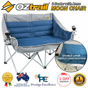Outstanding Details About Oztrail Galaxy 2 Seater With Arms Outdoor Camping Folding Double Size Moon Chair Customarchery Wood Chair Design Ideas Customarcherynet