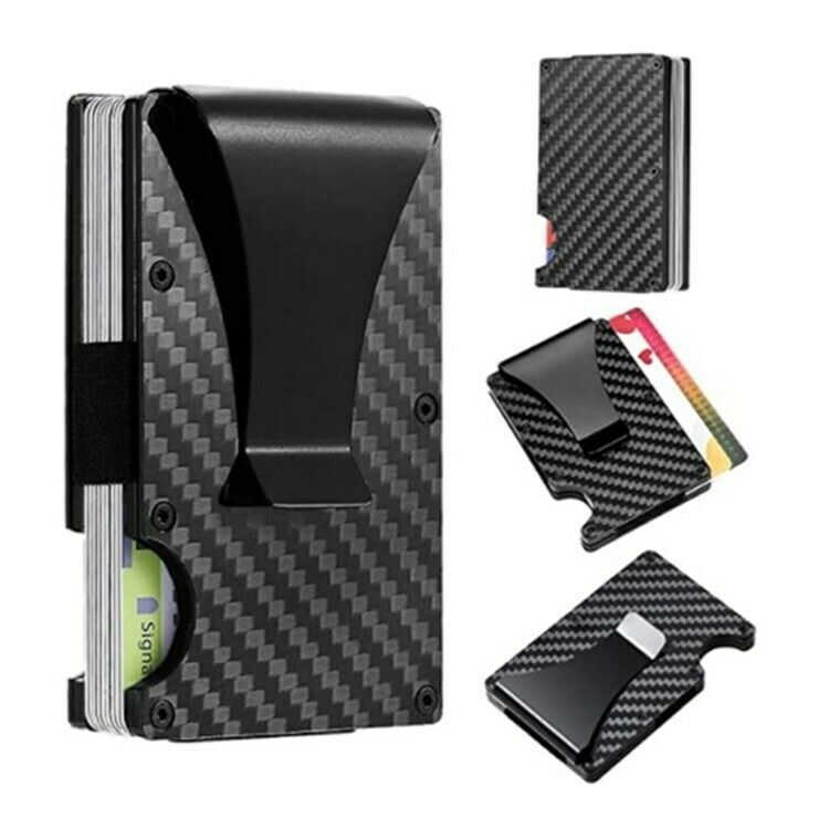 Carbon Fiber RFID Blocking S8 Slim Money Clip Card Holder Mens Minimalist Wallet