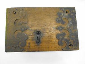 Attractive-Antique-Georgian-Large-Door-Lock-Beautiful-Metalwork-Wooden-Frame