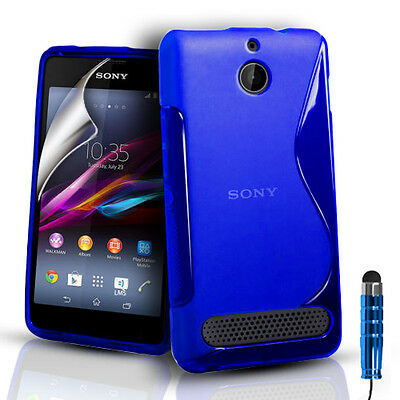 S-Line Silicone Gel Case Cover Pouch For Sony Experia E1 & Screen Protector