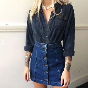 Sexy Women Celeb Button Front Mini Denim Skirt Casual Bodycon A ...