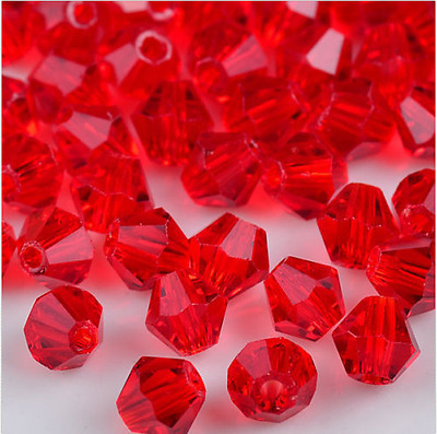 200pcs exquisite Porcelain RED Crystal 4mm #5301 Bicone Beads loose beads