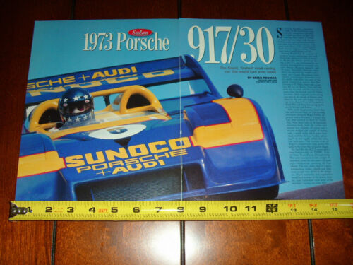 1973 PORSCHE 917 30 THE FASTEST ROAD RACE CAR ORIGINAL 1996 ARTICLE