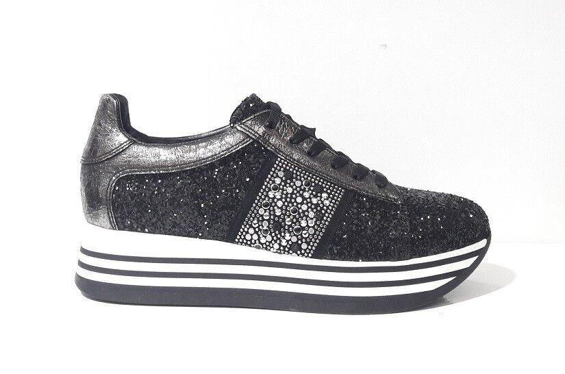 shoes SNEAKERS women BOTTEGA LOTTI 0744 PELLE GLITTER black LACCI PLATEAU ITALY
