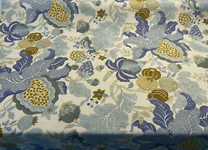 Eire Jacobean Blue Floral Linen Teflon Drapery Upholstery Fabric by the yard