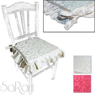 Coprisedia 2 6 Cuscini Sedia con Lacci Elegante Laminato Damasco Floreale SARANI | eBay