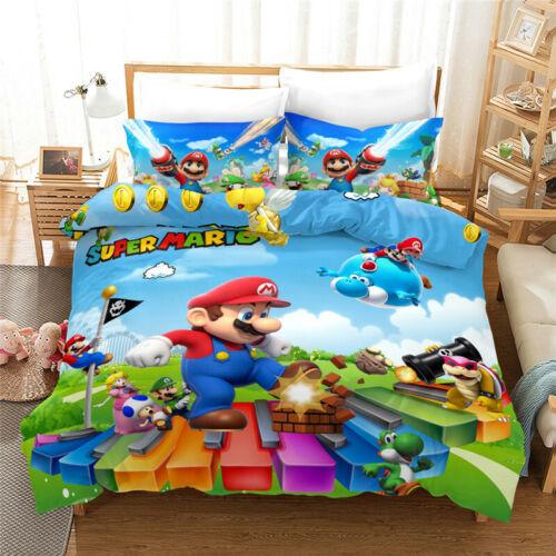 Super Mario Bros 3d Bedding Duvet Cover, Mario Bed Sheets Queen