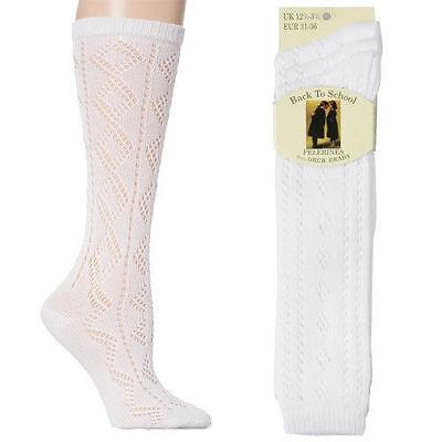 Girls White Knee High Pelerine School Socks UK Sizes 3 Pairs