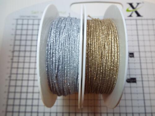 Cordón Elástico Redondo 2m 1mm-plata u oro metálico-ancho 1mm