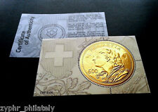 """Switzerland - """"COIN ON STAMPS ~ GOLD VRENELI"""" Special Embossed MNH MS 2013 !"""