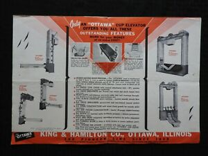 "1950's ""OTTAWA BIGGEST CAPACITY GRAIN CUP ELEVATOR"" FOLD-OUT POSTER BROCHURE IL"