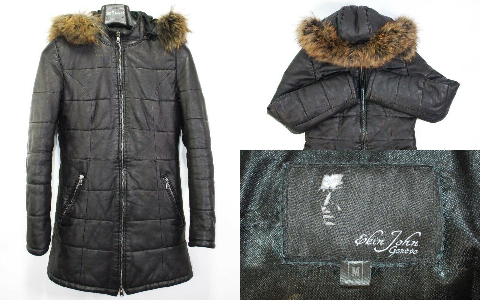 Ekin John Genève Women Jacket Size M Black Leather Luxury Top