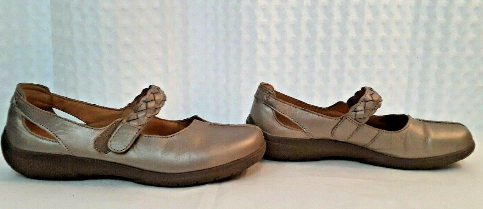 Hotter Comfort Concept Gold Leather Office Work Slip Heel Shoe Sz 9.5 Mary Janes