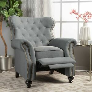 Walder Contemporary Tufted Fabric Recliner with Nailhead Trim