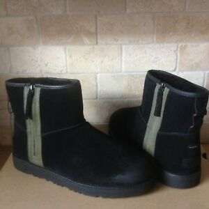 Ugg Classic Mini Zip Waterproof Black Suede Sheepskin Ankle Boots