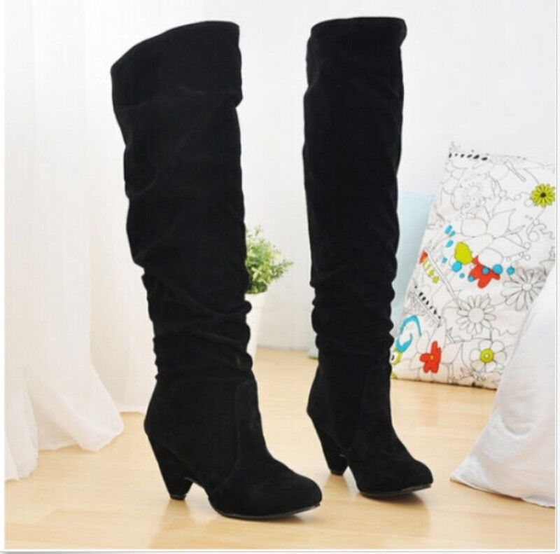 Fashion Winter Womens Retro Over the knee High Warm High Heel Boots Plus Size