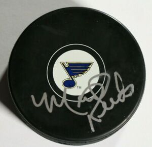 St. Louis Blues Signed Autographed Mark Reeds Puck NHL Hockey