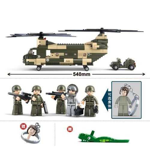 513pcs Military Cargo Helicopter Legoed Building Blocks Army Toys Complete Set